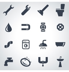 Black plumbing icon set vector