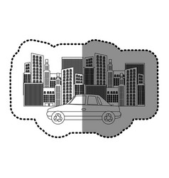 Black silhouette sticker of city buildings and car vector