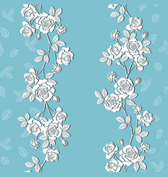 blooming white garden roses seamless pattern vector image