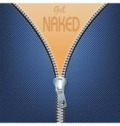 Blue jean with open metallic zipper vector