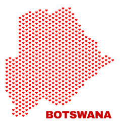 botswana map - mosaic of valentine hearts vector image