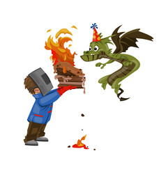 boy feeding a dragon with a cake for his birthday vector image