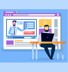 Businessman obtaining new skill with online course vector
