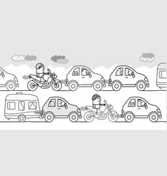 Cartoon people in a polluted traffic jam vector