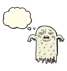 Cartoon slimy ghost with thought bubble vector