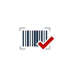 check barcode logo icon design vector image