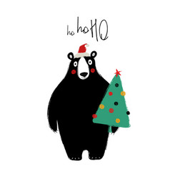 Christmas card with bear holding tree vector