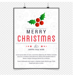 christmas greetings card design with white vector image