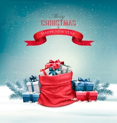 Christmas snowy background with a red sack with vector image