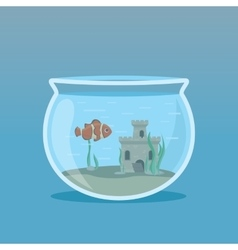 Clown Fish in an aquarium with algae and castles vector image