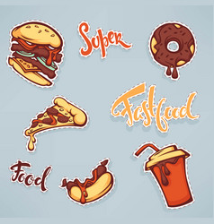 collection of ffastfood patch badges with burger vector image