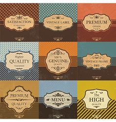 collection vintage quality labels and frames vector image