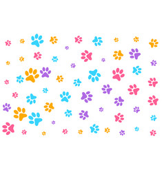 colorful dog or cat paw prints pattern background vector image