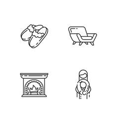 Cozyness mood linear icons set vector