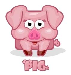 cute cartoon square pig vector image