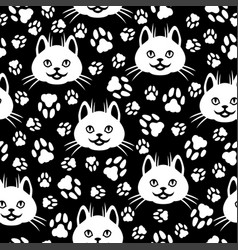 Cute cat faces and footprint pattern seamless vector