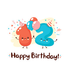 Cute numbers twelve with balloons in festive hat vector