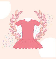 Cute pink tutu ballet emblem vector