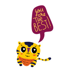 cute tiger cartoon animal with speech bubble tag vector image