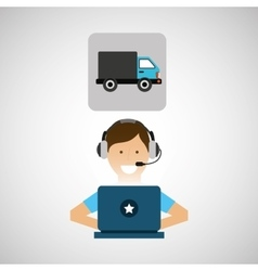 delivery service concept call center transport vector image