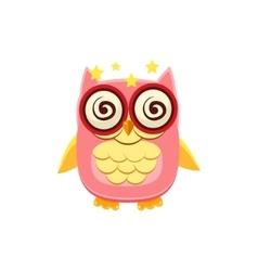 Dizzy pink owl vector