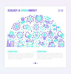 Ecology and green energy concept in half circle vector