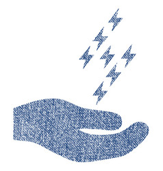 Electric energy offer hand fabric textured icon vector