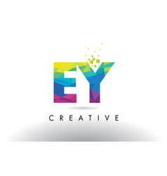 Ey e y colorful letter origami triangles design vector