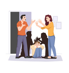 family conflict quarreling couple and afraid child vector image
