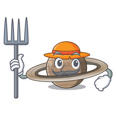 Farmer pluto saturn isolated in with mascot vector