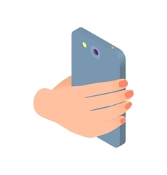 Female hand holds phone icon cartoon style vector image