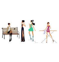 four modern girls vector image