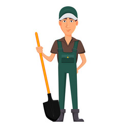 gardener man cartoon character in uniform vector image