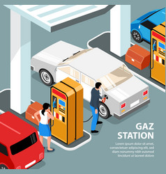 Gas station isometric vector
