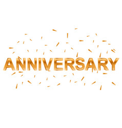 gold anniversary text om white background vector image