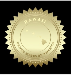 Gold star label Hawaii vector