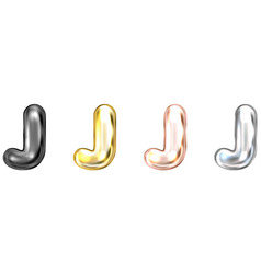 Golden foil balloon inflated alphabet symbol j vector