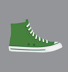 Green long canvas shoes vector