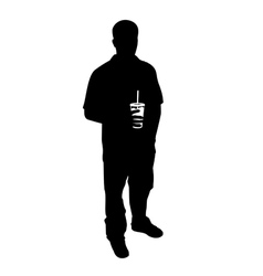 Guy with soda silhouette vector