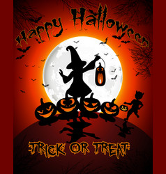 halloween on full moon background vector image