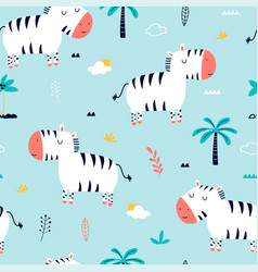 Hand drawing zebra seamless pattern v vector