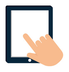 hand using tablet electronic vector image