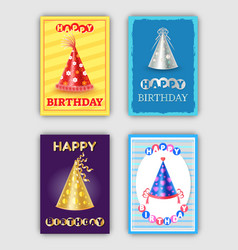 happy birthday posters set hats for party vector image