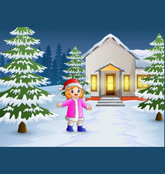 Happy kid playing in front of the snowing house vector
