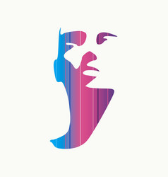 Head silhouette front view vector