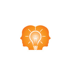 heads of two men thinking smart for idea for logo vector image