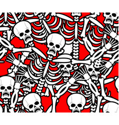 Hell seamless pattern skeleton in sinners vector