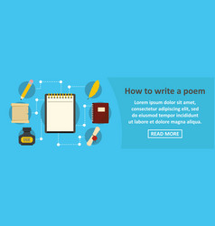 how to write a poem banner horizontal concept vector image