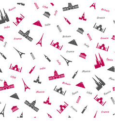 icons of most popular world monuments colored vector image