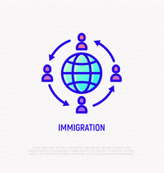 immigration line icon people moving around globe vector image
